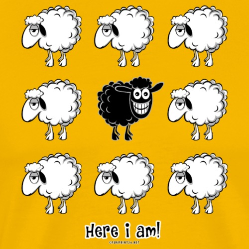 10-44 BLACK SHEEP - Here i am - Products - Miesten premium t-paita