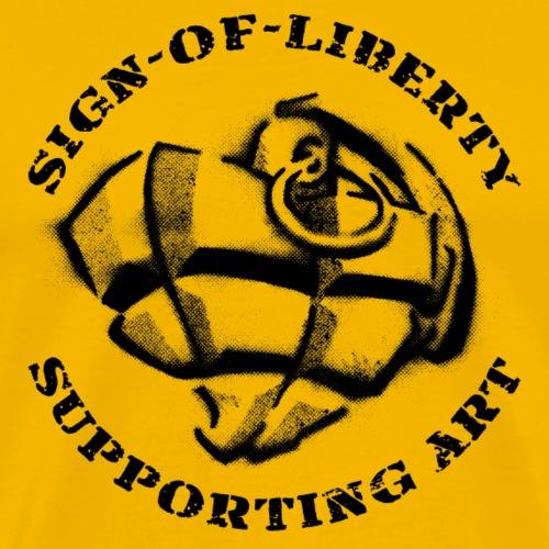 Sign-of-Liberty Supporting Art schwarz - Männer Premium T-Shirt