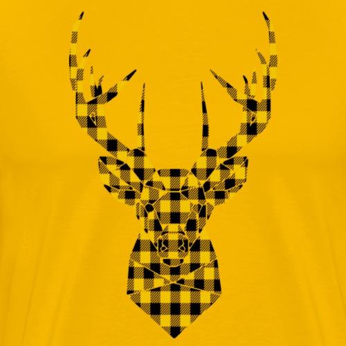 cerf design plaid jaune et noir
