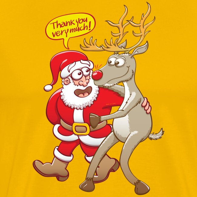 Santa thanks deeply to his red-nosed reindeer
