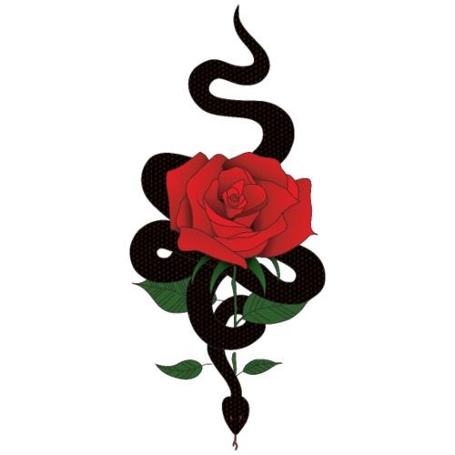 Serpiente y rosa - Camiseta premium hombre