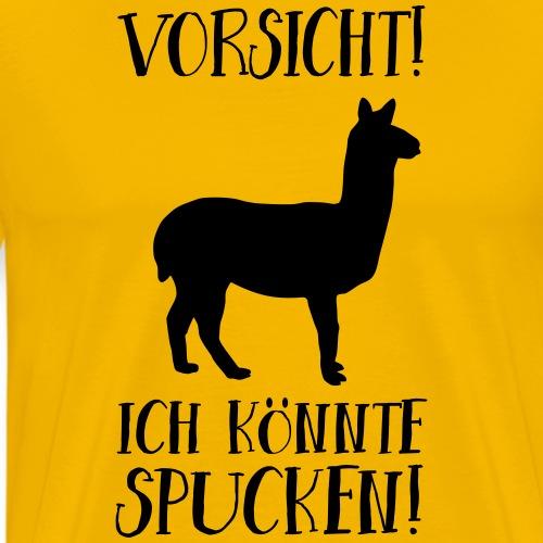 Lama Alpaka Lustiger Spruch Achtung Spucken - Männer Premium T-Shirt
