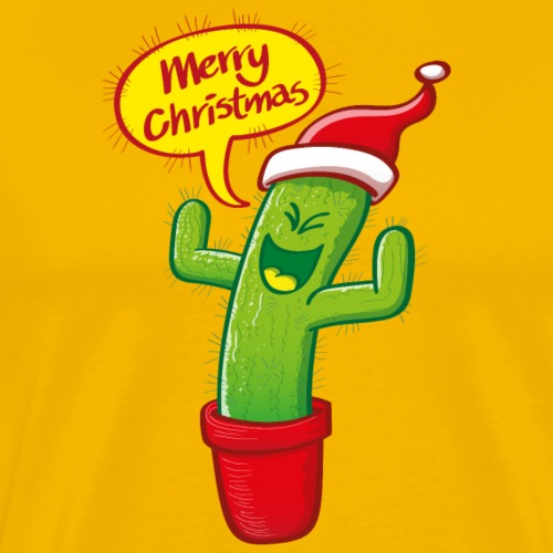 Naughty green cactus in red hat celebrating Christmas - Men's Premium T-Shirt