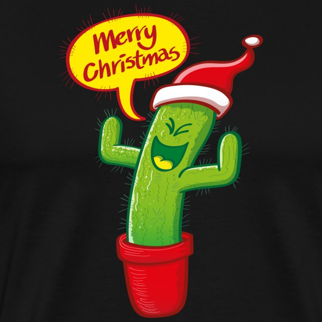 Naughty green cactus in red hat celebrating Christmas