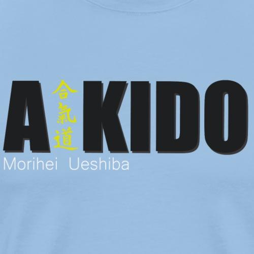 aikido diseño letras mas kanji - Camiseta premium hombre