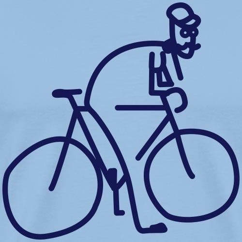 Vélo et cycliste à moustaches - T-shirt Premium Homme