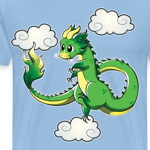 Ling Green Chinese Oriental Air Dragon - Men's Premium T-Shirt