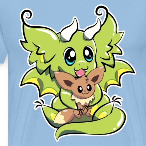 Manu the Dragon with Doll - Men's Premium T-Shirt