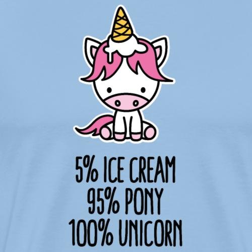 5% ijs 95% pony 100% eenhoorn Grappige eenhoorn - Mannen Premium T-shirt
