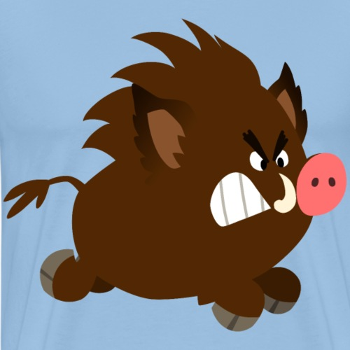Angry Cartoon Wild Boar by Cheerful Madness!! - Men's Premium T-Shirt