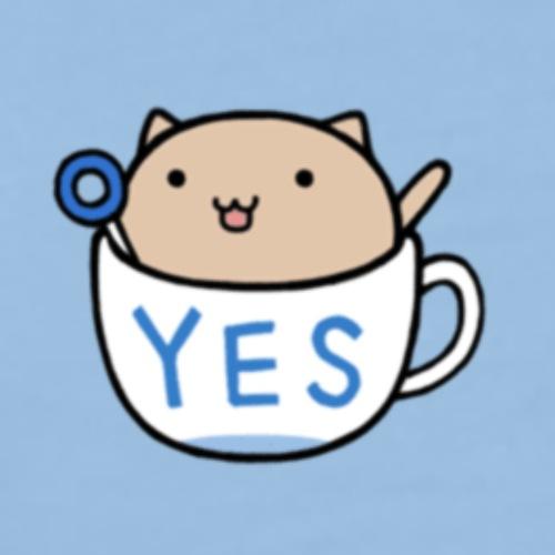 Kotecek w filiżance z napisem YES 1400610 - Koszulka męska Premium