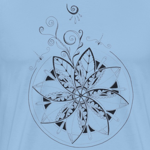 Mandala in schwarz intuitiv handgemalt - Männer Premium T-Shirt