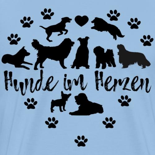 Hunde im Herzen T-Shirt Hundeliebe Hunderassen - Männer Premium T-Shirt