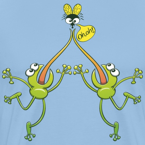Frogs argue for an unhappy fly - Men's Premium T-Shirt