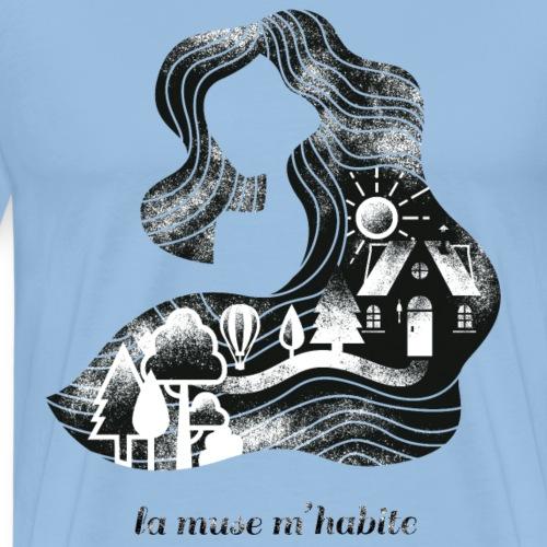 La m use m'habite - contrepèterie sur fond clair - T-shirt Premium Homme