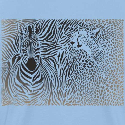 Zebra und Gepard und Musterhintergrund - Männer Premium T-Shirt