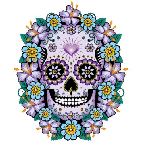 Purple Sugar Skull with Flowers - Men's Premium T-Shirt