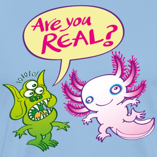 Alien surprised wonders if the axolotl is real - Men's Premium T-Shirt