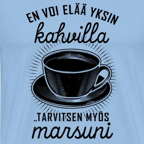 Yksin Kahvilla Marsu II - Miesten premium t-paita
