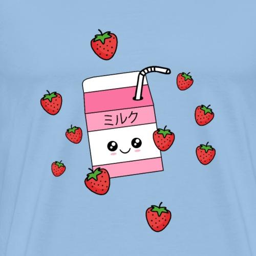 Kawaii Jordbær-mælk Ichigo Miruku - Herre premium T-shirt