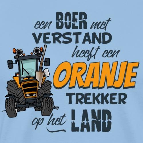 0782 Oranje trekker met spreuk - Mannen Premium T-shirt