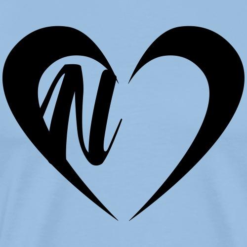 Herz mit Buchstabe N - Männer Premium T-Shirt