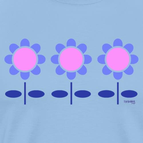 Blue retro flowers - Miesten premium t-paita