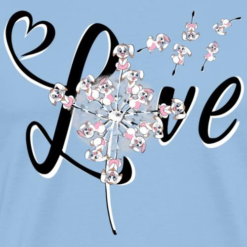 LOVE Kaninchen Pusteblume - Männer Premium T-Shirt