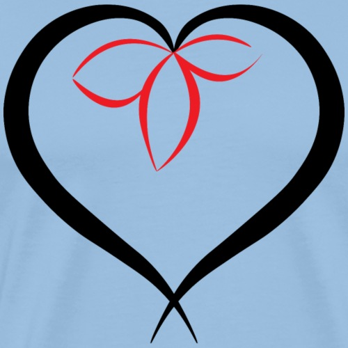 Flower in a heart - Black - Men's Premium T-Shirt