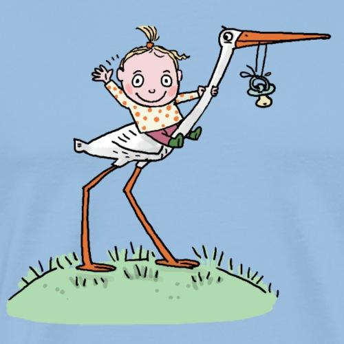Baby und Storch - Männer Premium T-Shirt