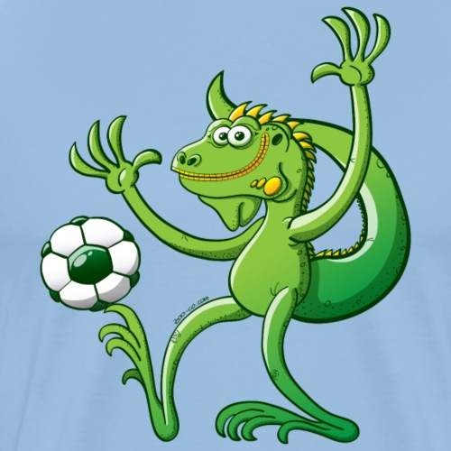 Iguana Balancing a Foot Ball - Men's Premium T-Shirt