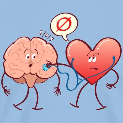 Heart examinating Brain with Stethoscope - Men's Premium T-Shirt