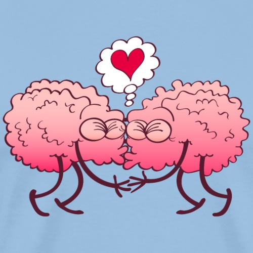 Couple of brains in love kissing passionately - Men's Premium T-Shirt