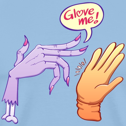 Monstrous witch's hand asking for glove - Men's Premium T-Shirt