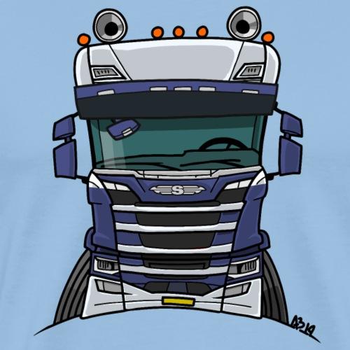 0814 S truck blauw wit - Mannen Premium T-shirt