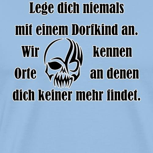 Dorfkind mit Schaedel schwarz - Männer Premium T-Shirt