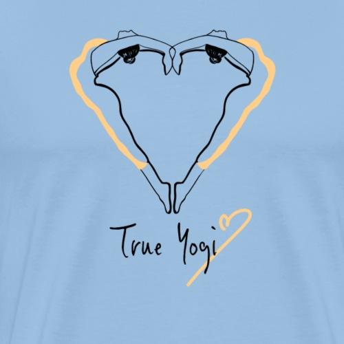 Yoga T-Shirt - True Yogi in gelb/schwarz - Männer Premium T-Shirt