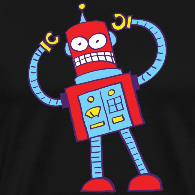 Red robot gnashing its teeth and going nuts