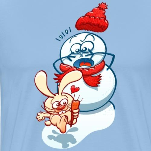 Rabbit steals carrot nose of snowman - Men's Premium T-Shirt