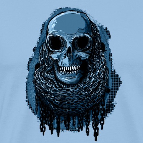SKULL in CHAINS - deepBlue - Men's Premium T-Shirt