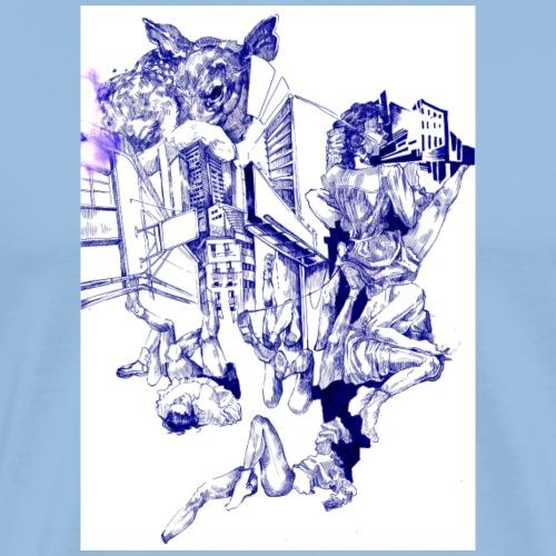 'Naked Bambi' Tintengrafik - Männer Premium T-Shirt