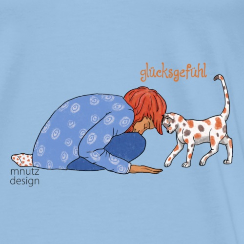 Glücksgefühl - Freundschaft mit Katze - in Farbe - Männer Premium T-Shirt