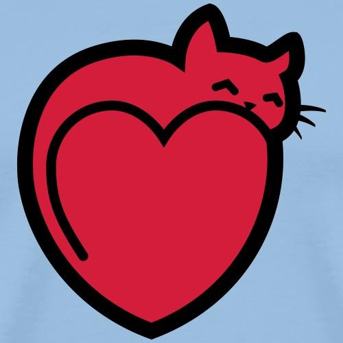 chat sur un coeur - T-shirt Premium Homme