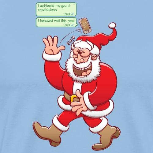 Santa laughs fake texts of good behavior - Men's Premium T-Shirt