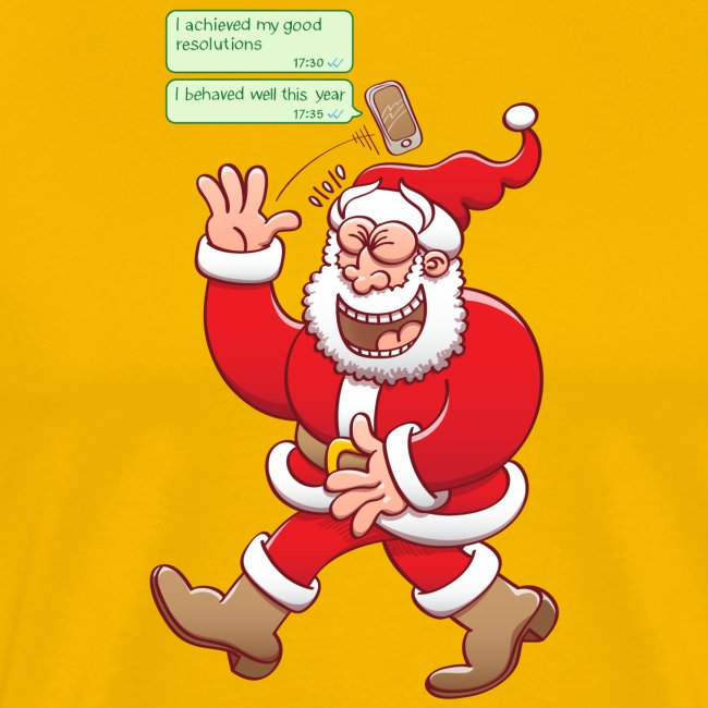 Santa laughs fake texts of good behavior