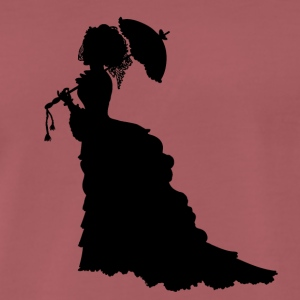 Black Baroque Lady silhouette with umbrella - Men's Premium T-Shirt
