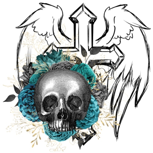 Blue Floral Skull at Angelscross - Männer Premium T-Shirt