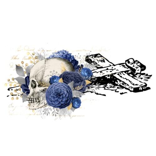 Floral Skull at broken Cross - Männer Premium T-Shirt