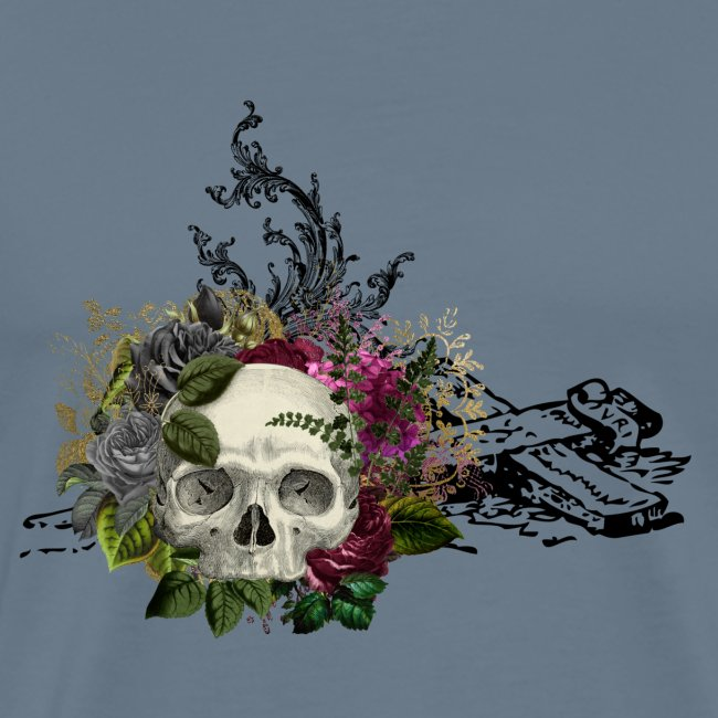 Floral Skull with Cross