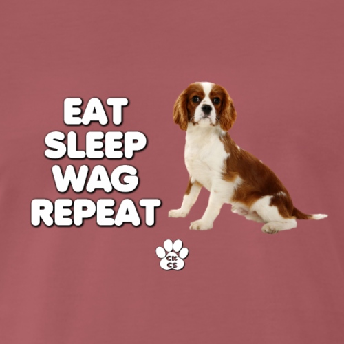CKCS EAT SLEEP WAG REPEAT - Men's Premium T-Shirt